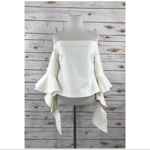 Chic Wish Ethereal Frilling Off-shoulder Top S
